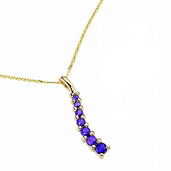 9ct yellow gold Amethyst Wave Pendant and 18inch Chain