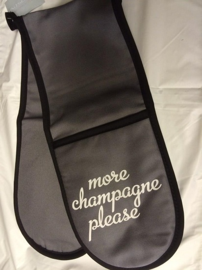 More Champagne Please - Grey Novelty Oven Gloves