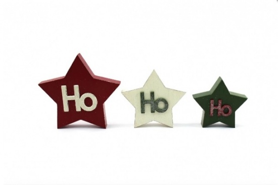 Ho Ho Ho Wooden Blocks - 3 Star Blocks