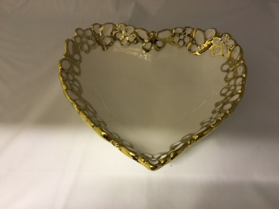 White & Gold Floral Butterflies Heart  Trinket Dish
