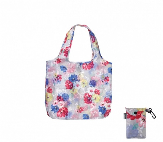 Blossom Eco-Friendly Reusable Foldable Shopping Tote Bag with Clip On Pouch