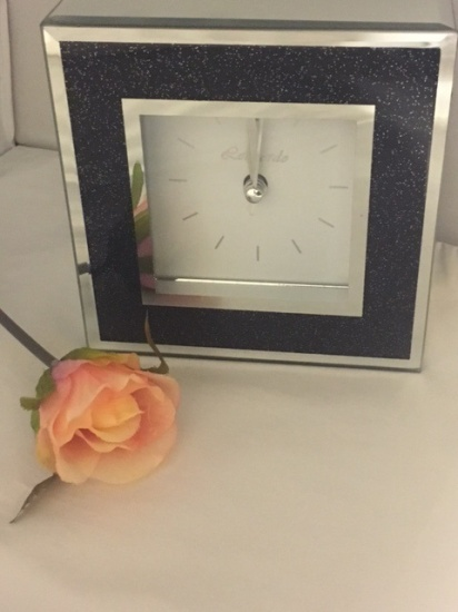 Sparkly Black Mirror & Glitter Frame Clock with Alarm