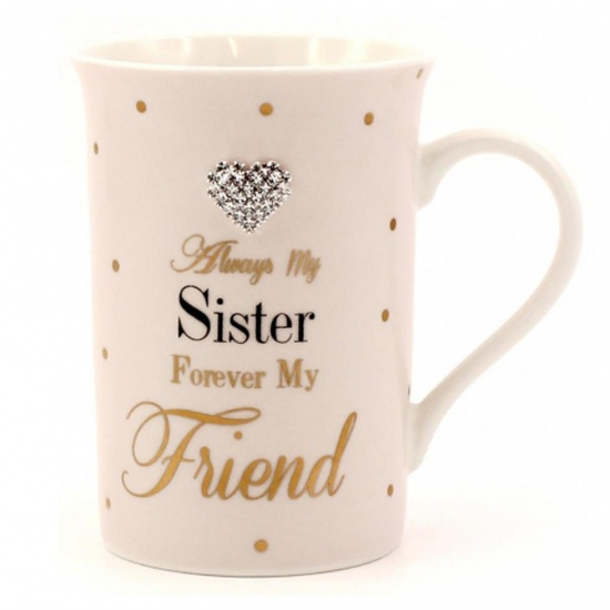 Always My Sister, Forever My Friend Diamante Heart Fine China Mug - Gift Boxed