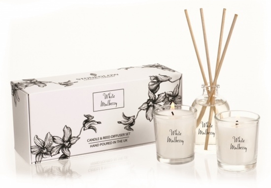 Stoneglow - White Orchid White Mulberry Candle and Reed Diffuser Gift Set