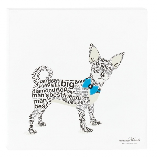 Chihuahua Wall Decor / Picture - Wild About Words 12'' x 12