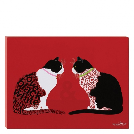 Black & White Cats - Sitting  Wall Decor / Picture - Wild About Words 16'' x 12''