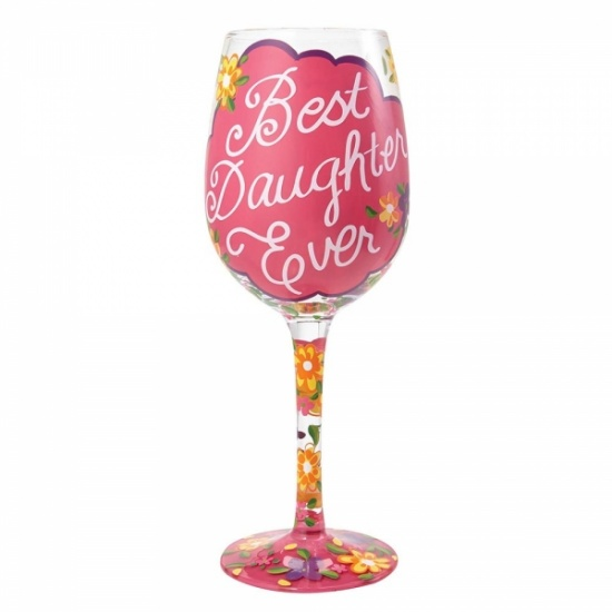 Lolita Best Daughter Ever Hand Painted Wine Glass - Gift Boxed
