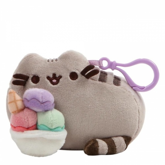Pusheen Sundae Backpack Clip - Grey Cat