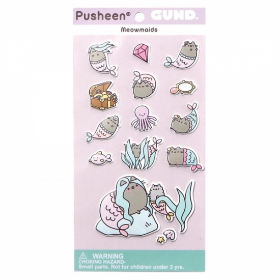 Pusheen the Cat Mermaid Stickers Sheet - adorable bubble puffy pastel stickers