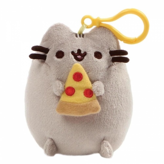 Pusheen Pizza Backpack Clip - Grey Cat
