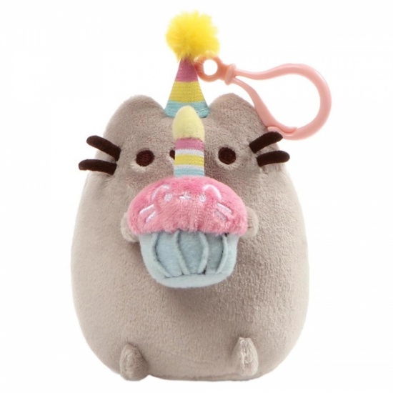 Pusheen Birthday Backpack Clip - Grey Cat
