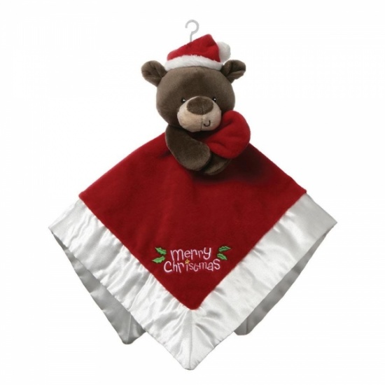 Gund My First Christmas Lovey Santa Bear Comforter Blankie / Soother  Soft Plush
