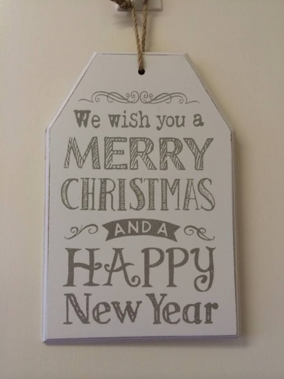 We wish you a Merry Christmas and a Happy New Year - Large Wooden Hanging Plaque