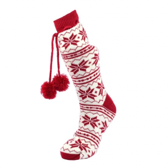 Cosy Toes Red & White Knit Ladies Jacquard Boot Slipper Socks Size UK 4-7