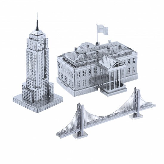 Metal Art Construction Set The USA Collection - Empire State Building, Golden Gate Bridge, The White House