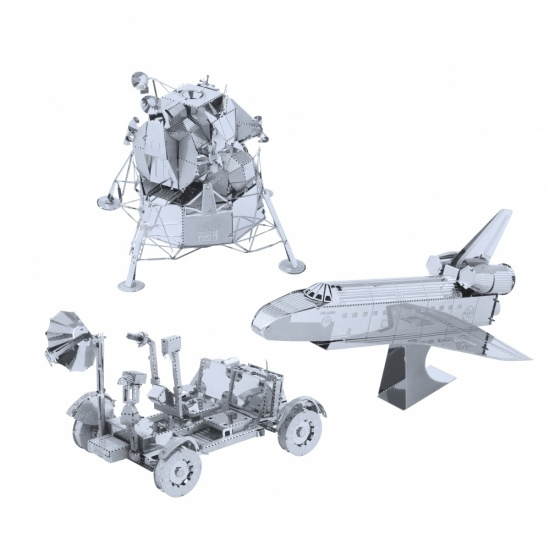 Metal Art Construction Set The Space Collection - Space Shuttle, Moon Buggy, Lunar Lander