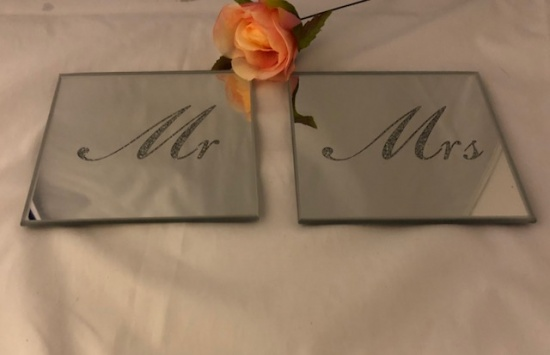 Set Of 2 Mirror Glass and Silver Glitter Mr & Mrs Coasters