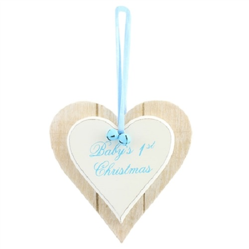 Baby's 1st Christmas Heart Plaque - Baby Boy Blue