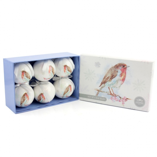 Winter Robin Set of 6 Christmas Tree Bauble Decorations .