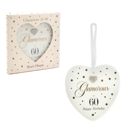 Mad Dots 60th Birthday Hanging Ceramic Heart Glamorous at 60 Happy Birthday
