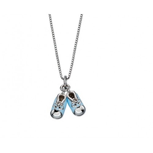 D for Diamond Blue Enamel Baby Booties Pendant Necklace