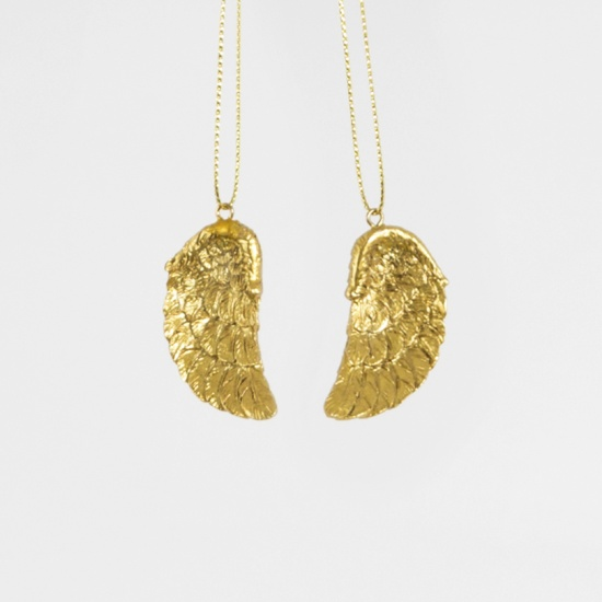 Set of 2 Golden Angel Wings Hanging Decoration