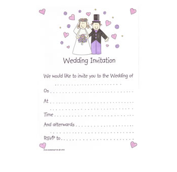 Bride and Groom Wedding Invitations - Pack 20