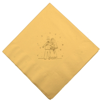 Bride & Groom Cream Wedding Napkins