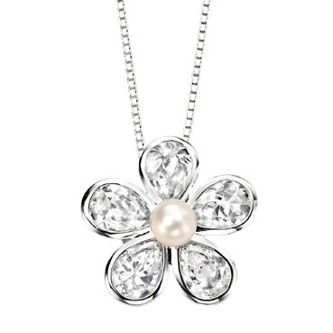 Sterling Silver, Pearl and Cubic Zirconia Flower Pendant and Chain