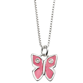 D For Diamond - Diamond & Pink Enamel Butterfly Pendant