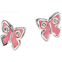 D for Diamond - Pink Enamel and Diamond Butterfly Earrings