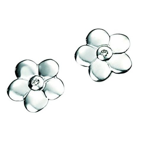 D for Diamond Silver Diamond Daisy Earrings