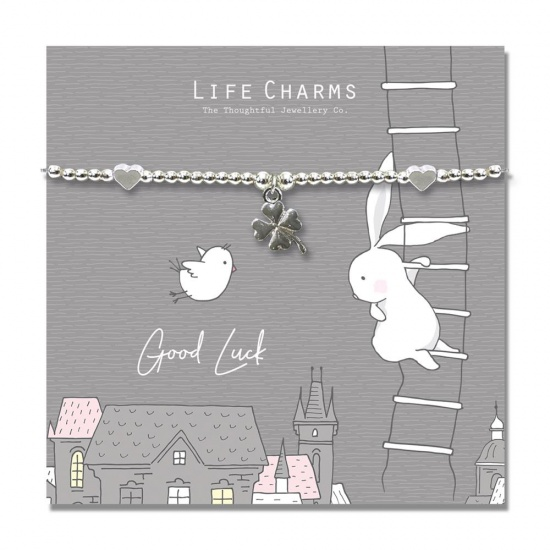 Good Luck four Leaf Clover - Silver Plated Bracelet - Life Charms