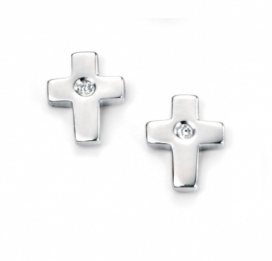 D for Diamond Silver Diamond Cross Childrens Earrings