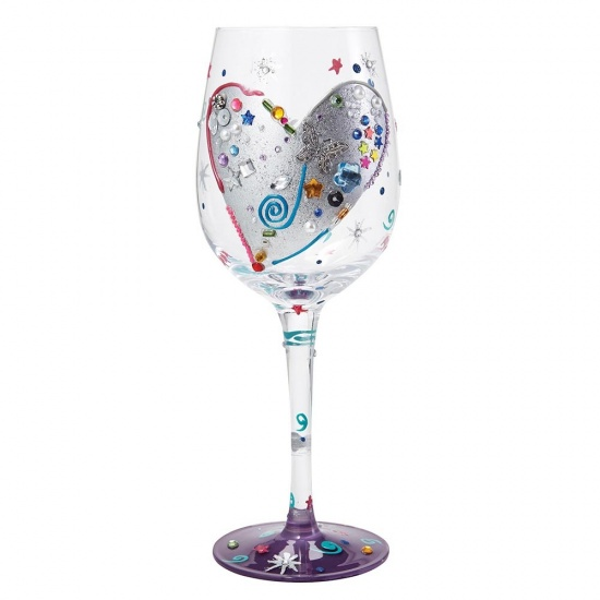 Lolita Silver Lining Hand Painted Wine Glass - Gift Boxed