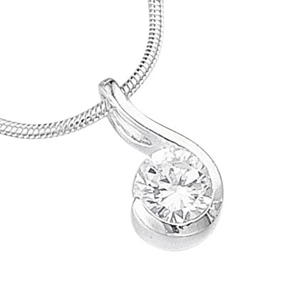 Sterling Silver & Cubic Zirconia Swirl Pendant on a 16'' Chain