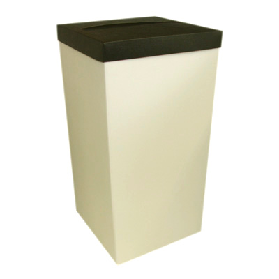 Ivory Wedding Post Box with Black Lid - Card Receiving Box