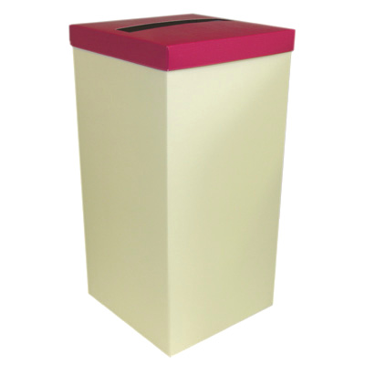 Ivory Wedding Post Box with Hot Pink Lid - Card Receiving Box