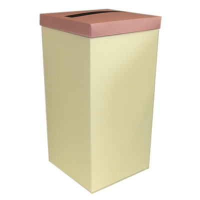 Ivory Wedding Post Box with Pink Lid - Card Receiving Box