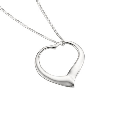 Large Silver Slip-on heart pendant with 18'' chain