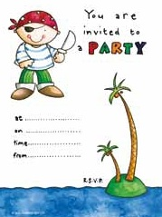 Pirate Party Invitations - Pack of 10
