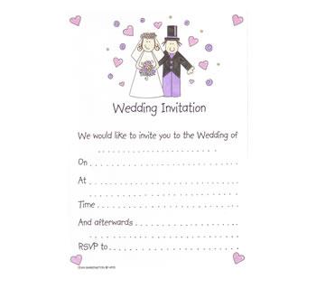 Bride And Groom Wedding Invitations Pack 20 Threelittlebears Co Uk