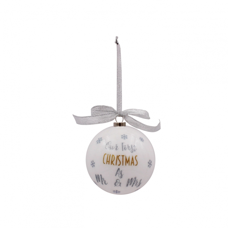 our first christmas as mr mrs bauble 1st year of marriage gift idea