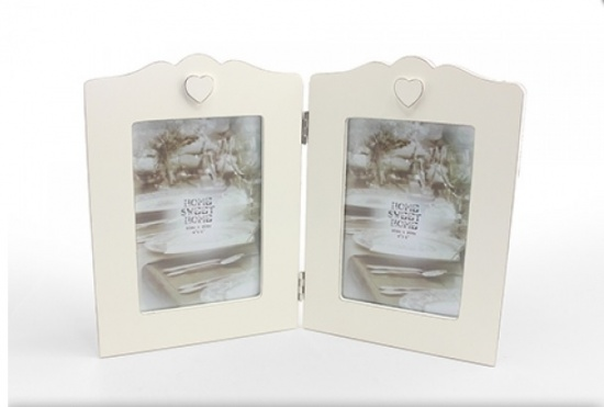 Vintage Shabby Chic Twin Cream Photo Frame With Heart