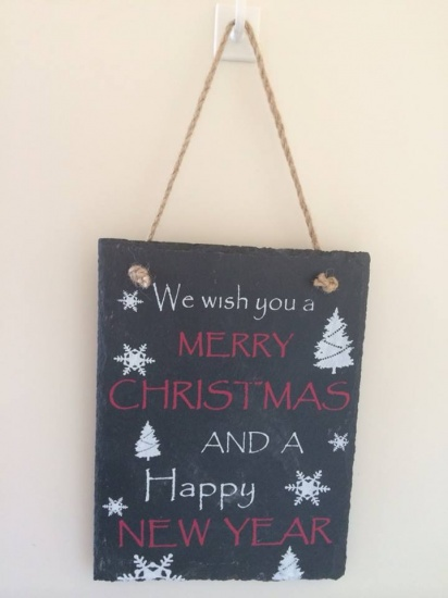 We Wish You a Merry Christmas Hanging Slate Plaque Sign