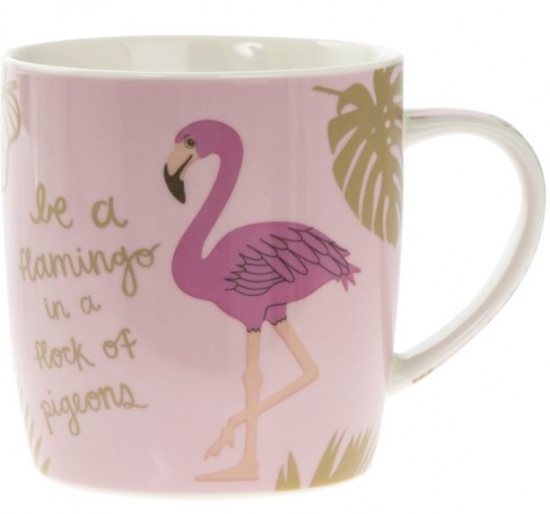 Be a flamingo in a flock of pigeons Pink Fine China Mug - Gift Boxed