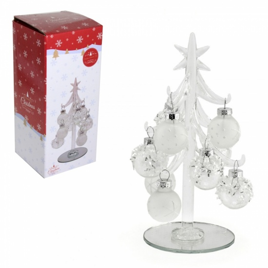 Glass Christmas Tree frosted White 16cm Decorative table top / Desk tree