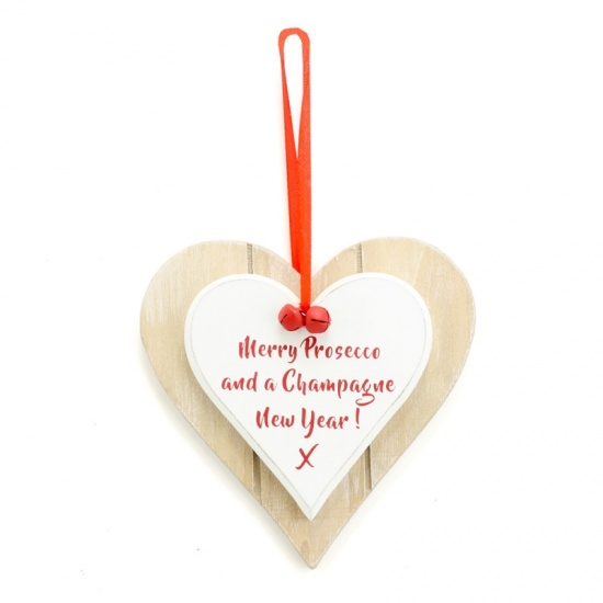 Merry Prosecco and a Champagne New Year ! - Christmas Heart Plaque - Shabby Chic