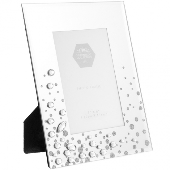 Silver Mirror and Starburst Crystal 4'' x 6'''' Picture Photo Frame