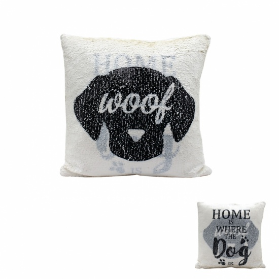Home is where the Dog is Glitter Sequin Cushion - Filled Cushion Pillow